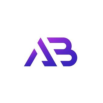 Logo litery ab, monogram na białym