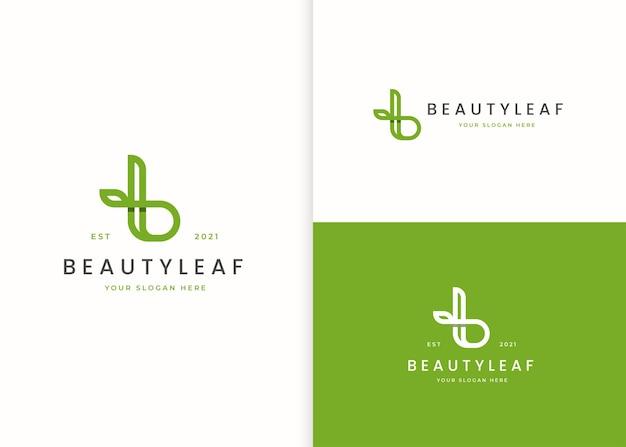 Logo litery b z ikoną liścia