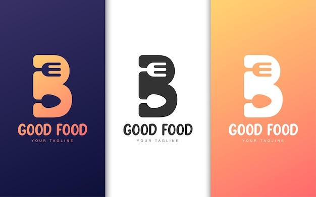Logo litery b z koncepcją restauracji. koncepcja logo prostej żywności