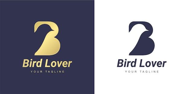 Logo litery b z minimalistyczną koncepcją gołębicy lub ptaka