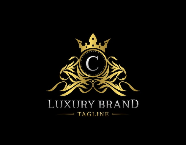 Logo litery c. royal gold shield.