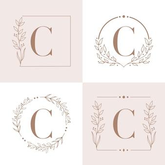 Logo litery c z szablonem tła ramki kwiatowy