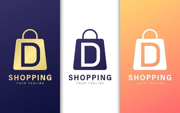 Logo litery d w torbie na zakupy. koncepcja logo prostego handlu