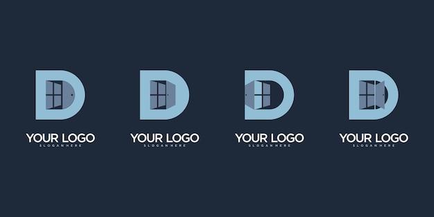 Logo litery d z drzwiami i oknem