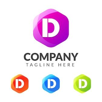 Logo Litery D Z Kolorowym Wzorem Geometrii Premium Wektorów