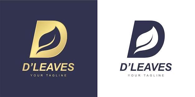 Logo litery d z minimalistyczną koncepcją liścia i natury