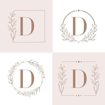 Logo litery d z szablonu tła ramki kwiatowy