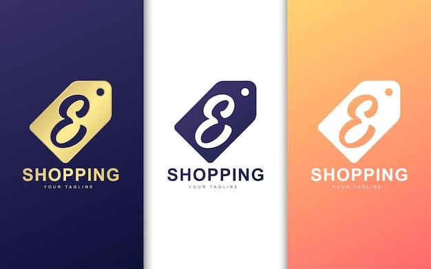 Logo litery e w metce z ceną. koncepcja logo nowoczesne zakupy