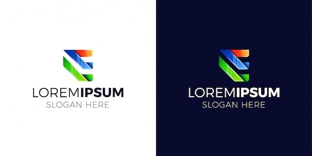 Logo litery e w stylu gradientu.