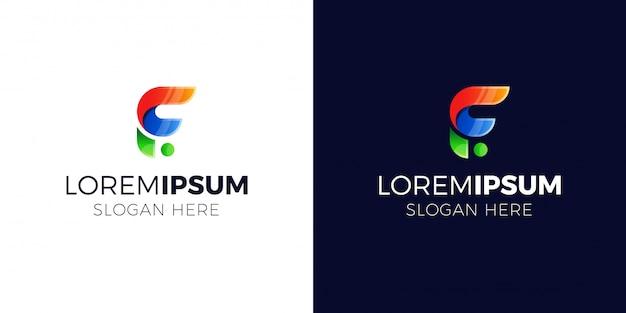 Logo litery f w stylu gradientu.