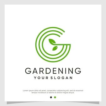Logo litery g w nowoczesnym świeżym stylu premium wektorów