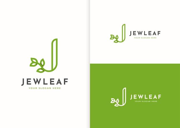 Logo litery j z ikoną liścia