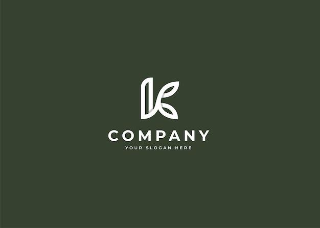 Logo litery k z ikoną liścia