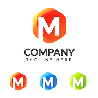 Logo litery m z kształtem kolorowej geometrii