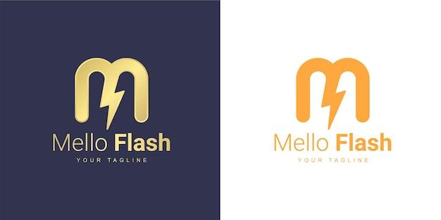 Logo litery m z pojęciem energii elektrycznej lub mocy