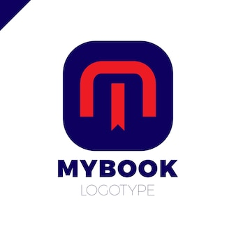 Logo litery m z zakładki i książki symbol ikona elementy szablonu projektu