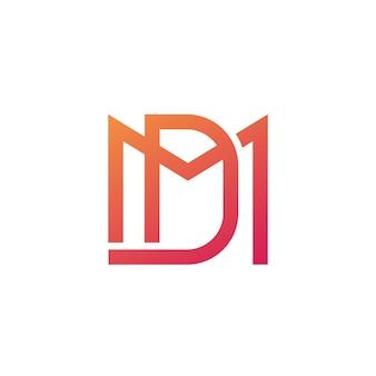Logo litery md, monogram na białym