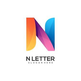 Logo litery n gradientu kolorowe