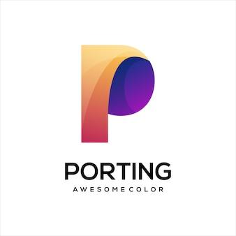 Logo litery p gradientowe kolorowe