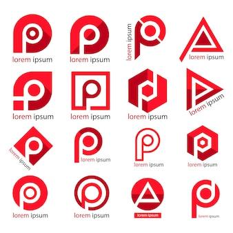Logo litery p. projekt alfabetu p,