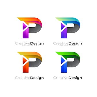 Logo litery p z kolekcją projektów play, kolorowe 3d