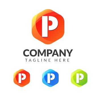 Logo litery p z kolorowym wzorem geometrii