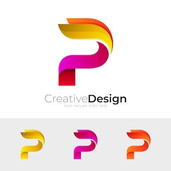 Logo litery p z kolorowym wzornictwem, styl 3d
