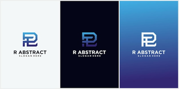 Logo litery r kwadratowy kształt z cyfrowym kolorem gradientu logo abstrakcyjnej technologii litera r