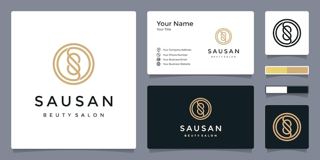 Logo litery s dla urody i salonu z szablonem wizytówki