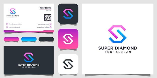 Logo litery s. wektor logo kształt diamentu. projektowanie logo, ikona i wizytówka.