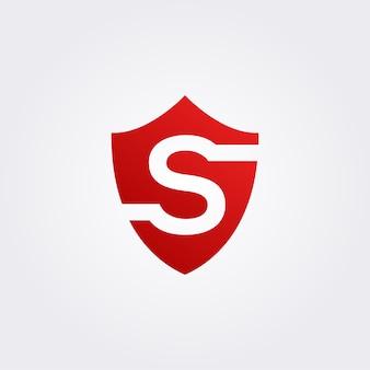 Logo litery s z tarczą, bezpieczne logo