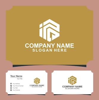 Logo litery sześciokątne pudełko premium i wizytówka