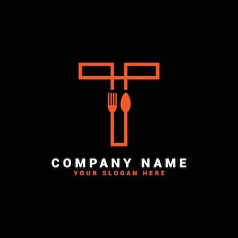 Logo litery t, logo litery t żywności, logo litery t łyżka