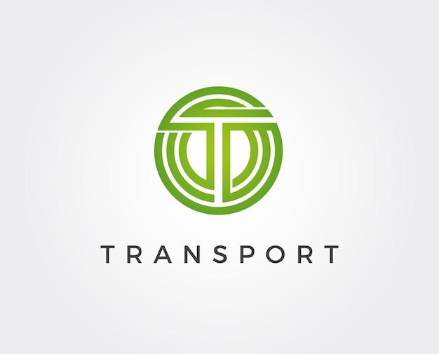 Logo litery t, symbol kształtu koła, kolor zielony i niebieski, technologia i cyfrowe połączenie abstrakcyjnej kropki