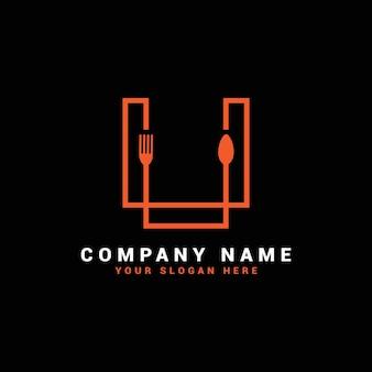 Logo litery u, logo litery u food, logo litery u łyżki