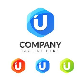 Logo litery u z kolorowym wzorem geometrii