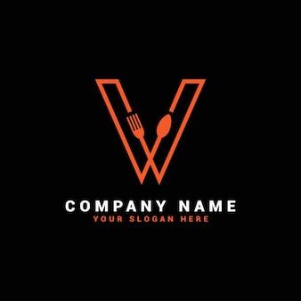 Logo litery v, logo litery v food, logo litery v łyżka