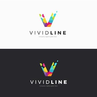 Logo litery v wykonane z kolorowych kółek