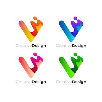 Logo litery v z kolorowym logo swoosh, zestaw stylowych logo