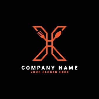 Logo litery x, logo litery x żywności, logo litery x łyżka