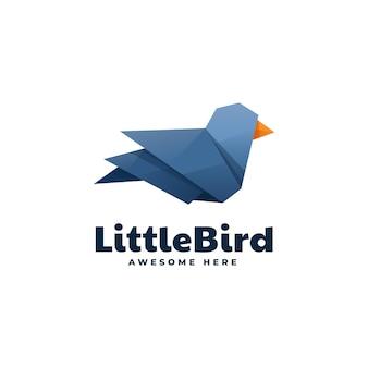 Logo little bird low poly gradient style