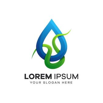Logo łodygi i kropli wody
