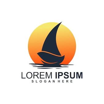 Logo łodzi z liśćmi