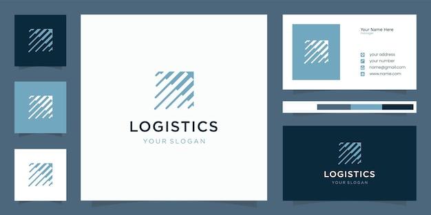 Logo logistyki z nowoczesnym unikalnym logo koncepcyjnym i szablonem wizytówki