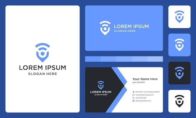 Logo lokalizacji i połączenia lub sygnału. wizytówka.