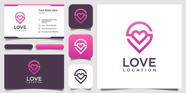 Logo lokalizacji kreatywnej miłości z markerem serca i mapy. projekt szablonu i wizytówki