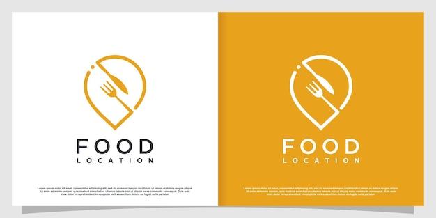 Logo lokalizacji żywności z prostym i kreatywnym stylem elementu premium wektor część 2