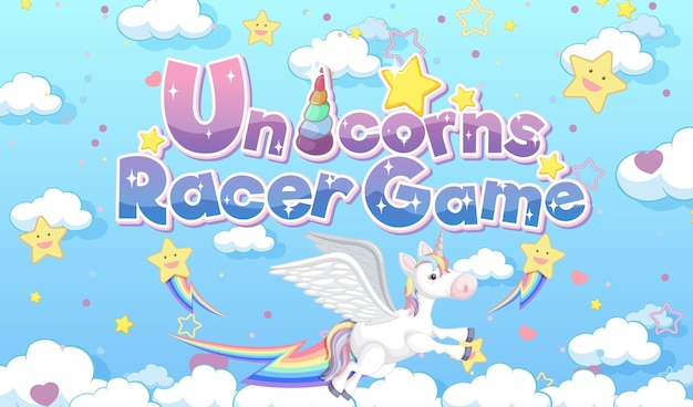 Logo lub baner gry unicorns racer game