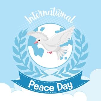 Logo lub baner międzynarodowego dnia pokoju z białą gołębicą
