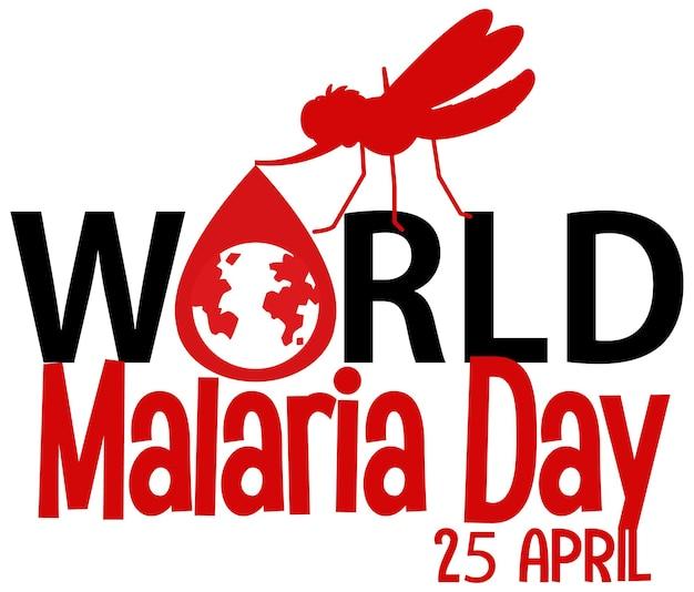 Logo lub baner światowego dnia malaria z komarem